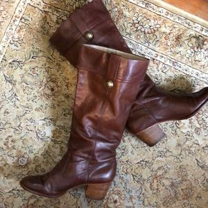 "COACH size 8.5 FAYTH LEATHER 2.25"" Heel Boot"